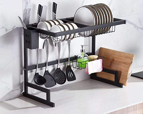 Dish Drying Rack Over Sink Stainless Steel Storage Holder with Black Coating Kitchen Storage Dish Drainer 85cm UK Stock