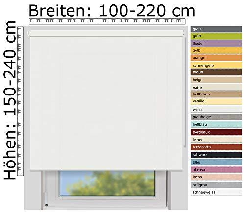 EFIXS Sichtschutzrollo Medium - 25 mm Welle - Farbe: weiß (4905) - Größe: 200 x 190 cm (Stoffbreite x Höhe) - lichtdurchlässig - Blickdicht