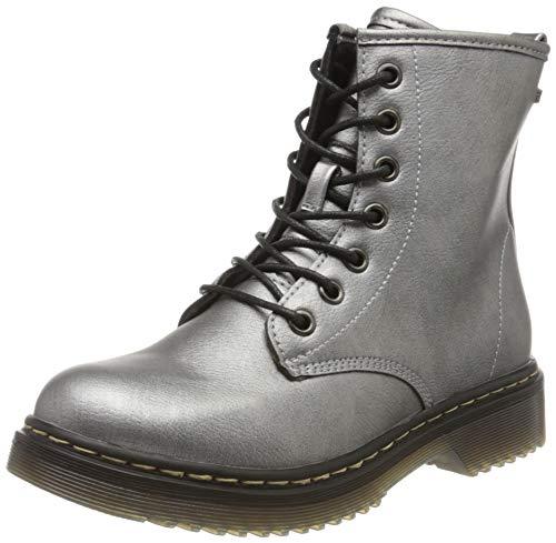 Indigo Mädchen 452 087 Biker Boots, Silber (Pewter/Gun Metal 946), 35 EU