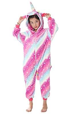 """YAOMEI Niños Onesies Kigurumi Pijamas, Niña Traje Disfraz Capucha, Ropa de Dormir Halloween Cosplay Navidad Animales de Vestuario (110 para Niño Altura 100-110CM (39""""-43""""), A-Rose Unicornio)"""