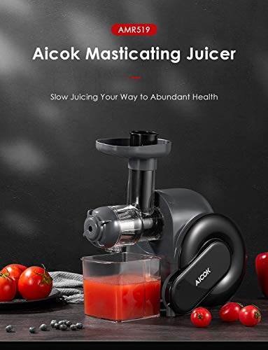Juicer Machines Easy to Clean, Aicok Slow Masticating Juicer for Hard & Soft Vegetable and fruit, Quiet Motor, Safe Lock… |