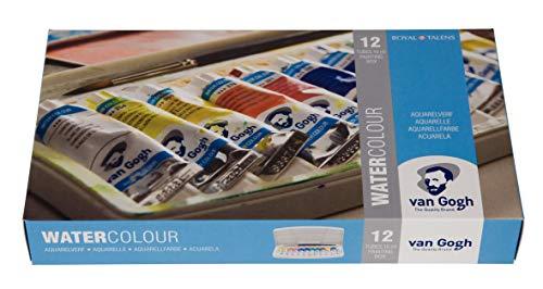 Van Gogh Watercolour 12 Tuben Aquarellfarbe mit Pinsel in Kunststoff-Box