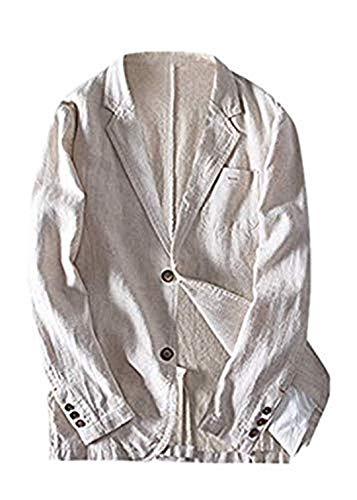 KPILP Herren Leinen Blazer Anzugjacke Regular-Fit Baumwoll und Leinen Loose Freizeit Sakkos mit Zwei Knopf Anzug Reverskragen Blazer für Hochzeit Party Busines