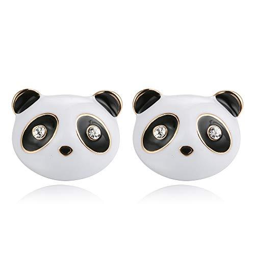 Qinlee Orecchini per bambini a forma di panda bianco e argento
