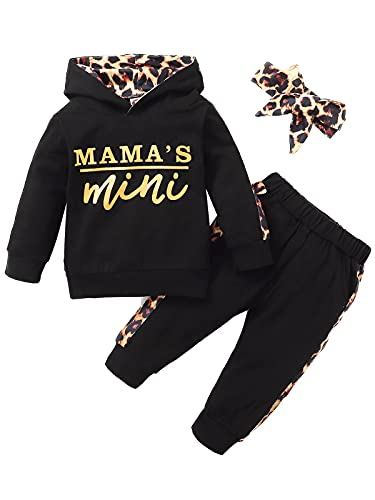 Newborn Baby Girl Clothes Outfits Infant Hoodie Sweatshirt Pants Headband Toddler Girl Clothing Set… (2-3T, Black)