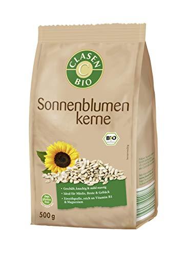 CLASEN BIO Sonnenblumenkerne - geschält, von Natur aus vegan und glutenfrei, biologischer Anbau - 500 g