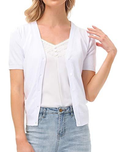 Short Sleeve Knit Bolero Shrug Cardigan White Size XXL