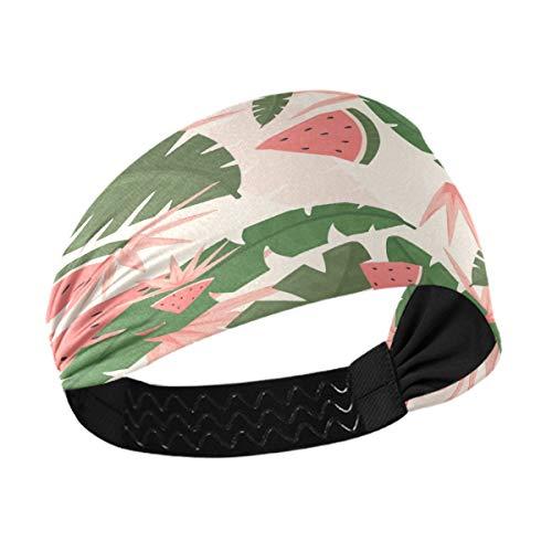 Diadema deportiva para mujer – Tropical Hello Summer Time Leaves Unisex entrenamiento para hombres que absorbe la humedad banda para el cabello para yoga, correr, atletismo