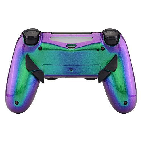 eXtremeRate Dawn Programmierbares Remap Kit für PS4 Controller mit rückseitem Gehäuse Hülle Case&Upgrade-Board&4 Rückseiten Tasten-für Playstation 4 Controller JDM 040/050/055(Grün Lila)
