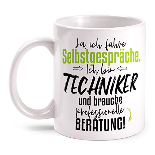 Fashionalarm Tasse Techniker - Ich führe Selbstgespräche beidseitig Bedruckt mit Spruch   Lustige Geschenk-Idee Kollege Arbeit Berufe-Tasse, Weiß 330 ml
