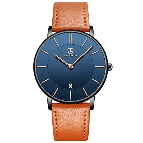 Uhren,Herren Uhr Flache Analog Quarz Datumsanzeiger Klassisch Mode Wasserdicht Armbanduhr mit Leder Armband