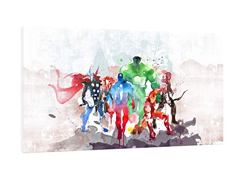 Cuadro Moderno Avengers - Impresión sobre Lienzo HD - Efecto Acuarela - Película - Cinema - Superhéroes cómics Marvel - Listo para Colgar - 65 x 36 cm - Fabricado en Italia