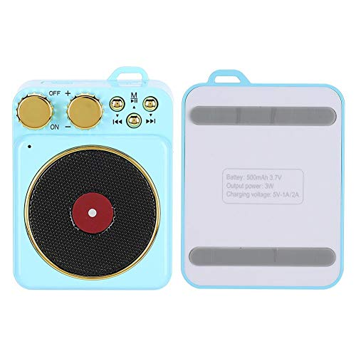 DC 3,7 V Retro Bluetooth 5,0 Lautsprecher, Bluetooth Lautsprecher Smart Audio Unterstützung Freisprechen/FM Radio/USB/TF Karte, klassische Retro Mini Multifunktions-Lautsprecher, Geschenk(Blau)