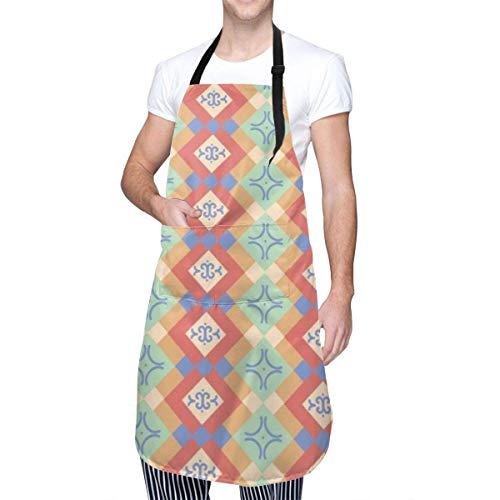 Abstrait Native Pattern Unisexe Mode Moderne Imperméable Oxford Tablier de Cuisine Réglable Facile à Utiliser Chef Cuisine Smock Cuisson Jardinage Nail Bavoir Hommes et Femmes Tablier 33X28 Pouces
