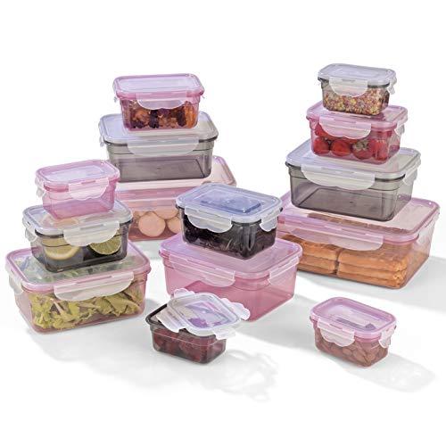 GOURMETmaxx Frischhaltedosen klick-it 14er Set | Spülmaschinen- Mikrowellen- und Gefrierschrankgeeignet | Deckel BPA-frei mit 4-Fach-klick-Verschluss | Ineinander stapelbar [4 Größen, grau/rosa]
