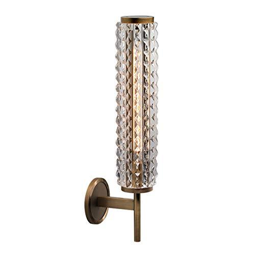 E14 Lámpara de Pared Moderna con Pantalla de Cristal Aplique pared para Dormitorio Pasillo Sala de estar Escaleras Iluminación de oficina-Cobre 12x48cm