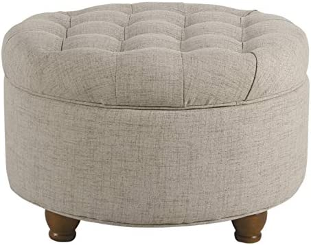 Best HomePop Large Button Tufted Round Storage Ottoman, Light Tan