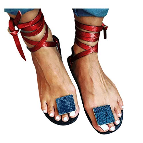 Heel Sandals for Women  Ulanda Women Flip-Flops Leopard Print Roman Style Lace-Up Flats Sandals Open Toe Shoes Blue Red