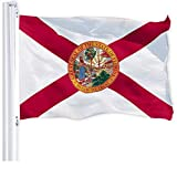 G128 – Florida State Flag | 3x5 feet | Printed 150D – Indoor/Outdoor, Vibrant Colors, Brass Grommets, Quality Polyester, Much Thicker More Durable Than 100D 75D Polyester