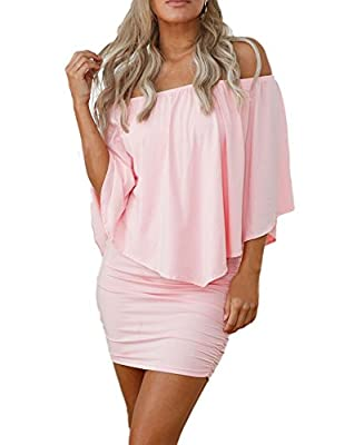 Sidefeel Women Off Shoulder Ruffles Party Mini Dress X-Large Pink