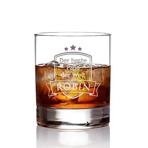 AMAVEL Whiskyglas, Tumbler mit Gravur, Der Beste Papa der Welt, Wappen, Personalisiert mit Namen