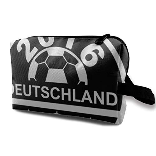 Bolsa de maquillaje para cosméticos Euro 2016 Football Alemania Deutschland Disc negro...