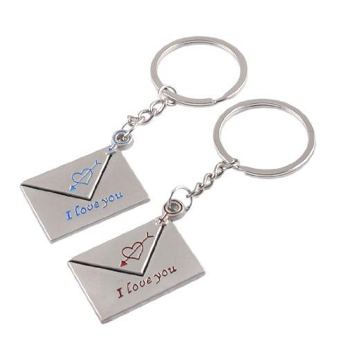 sourcingmap Porte clés pour couples amoureux I love you x 2 - Ton argenté, Taille unique