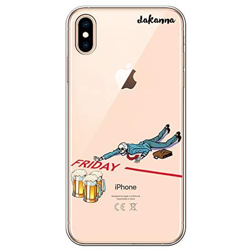 dakanna Custodia per [iPhone XS Max] Cranio con Birra e Frase Venerdì, Cover in Gel di Silicone TPU Morbido di Alta qualità con [Sfondo Trasparente]