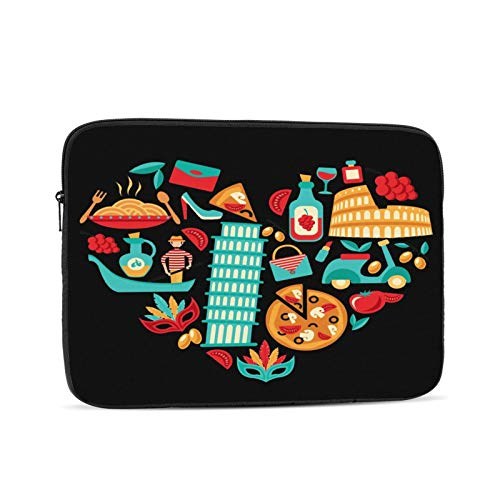 Laptop Sleeve Bag Italy Icons Heart Portable Zipper Tablet Cover Bag Notebook Computer Protective Bag,Black