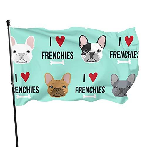 Tberj92-P Outdoor I Love Frenchie Dog Garden Flag, Family Flag - 3 X 5 Ft