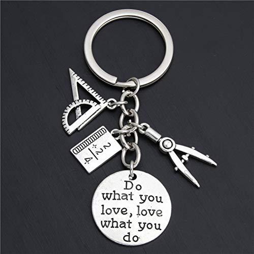 YCEOT 1Pc doen wat je liefde sieraden leraar sleutelhangers sleutelhanger liniaal potlood kompas bedels voor cadeau