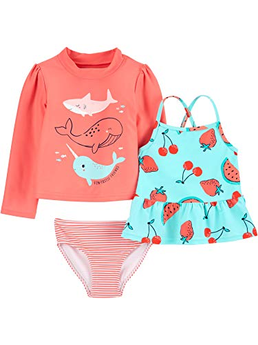 Simple Joys by Carter's Girls' Toddler 3-Piece Assorted Rashguard Sets, Narwhal/Berries, 5T
