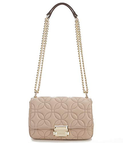 """Flora Quilted Costa Lamb Leather, Push lock closure Interior back zip pocket, front slip pocket, and center zip compartment Exterior back slip pocket Approx. 8.25""""W x 5.5""""H x 2.75""""D; 11-20"""" adjustable strap drop Approx. 1.14 lb weight"""