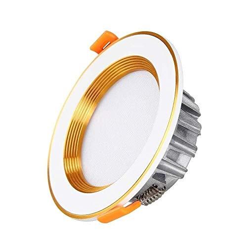 Lyuez nieuwe 3-Color dimming LED-inbouwdownlight LED-spot-licht luxe gouden LED-plafondlamp gang Aisle supermarkt Panel-plafondlampen (grootte: 3W) (Color : White Light)