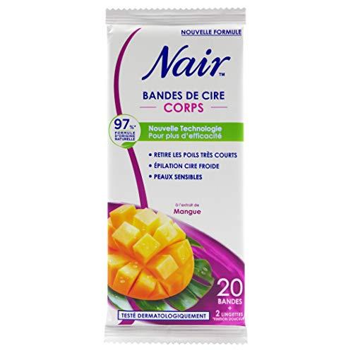 Nair - 20 Bandes de cire froide - Epilation jambes - Ultra rapide & efficace sur poils très courts - 2 lingettes finition