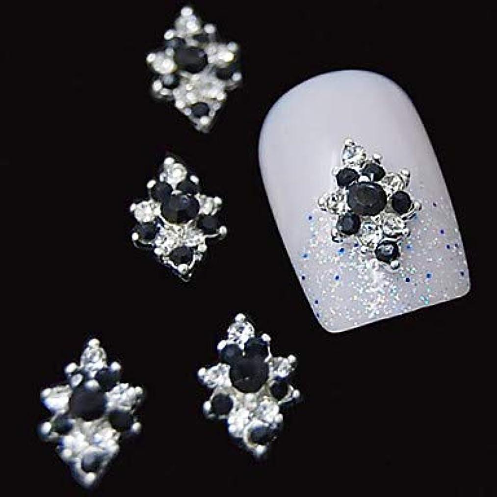 導入する中に救い10ピース3dブラックラインストーンダイヤモンドフラワーdiyアクセサリー合金ネイルアートデコレーション