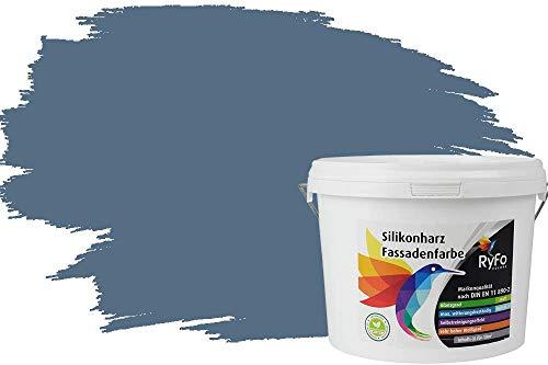RyFo Colors Silikonharz Fassadenfarbe Lotuseffekt Trend Rauchblau 3l - bunte Fassadenfarbe, weitere Blau Farbtöne und Größen erhältlich, Deckkraft Klasse 1