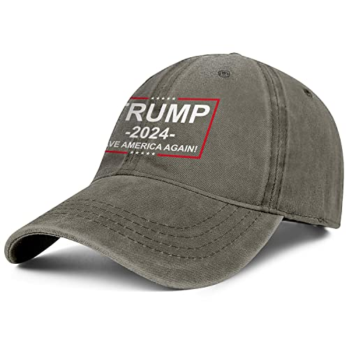 Trump 2024 Denim Trucker Hats for Men Women-Novelty Ball Sun Cap Snapback Adjustable