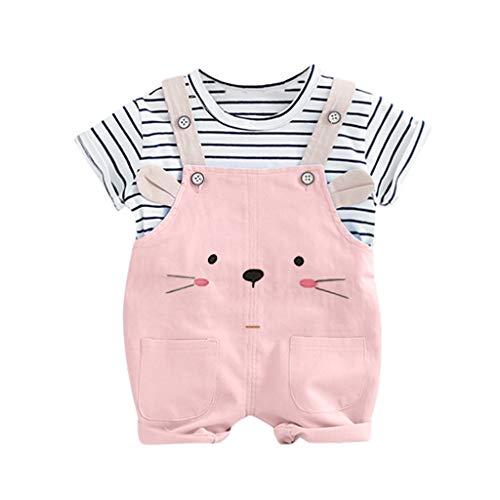 Janly Clearance Sale Conjunto de trajes para niñas de 0 a 24 meses, para bebés y niños y niñas, camiseta a rayas, oso y gato, bonito regalo de Pascua, juego de ropa de bebé para 6 a 12 meses (rosa)