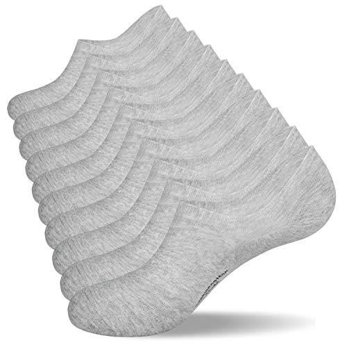 coskefy 10 Paar Socken Herren Damen 43-46 39-42 35-38 47-50 Rutschfeste Atmungsaktive Unsichtbare Socken Niedrig geschnittene Baumwollesocken für Sport Freizeit