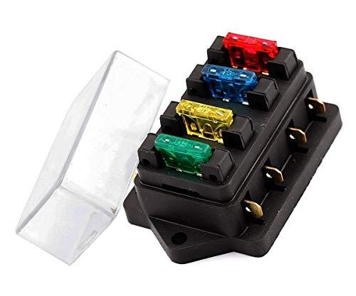 INIBUD 4-Fach Sicherungshalter ATO ATC 12V/24V KFZ mit 4 Sicherung Sicherungskasten Flachsicherungen Sicherungsdose Sicherungsträger