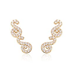 Swirl - Gold Rhinestone Pave Ear Crawler Earrings