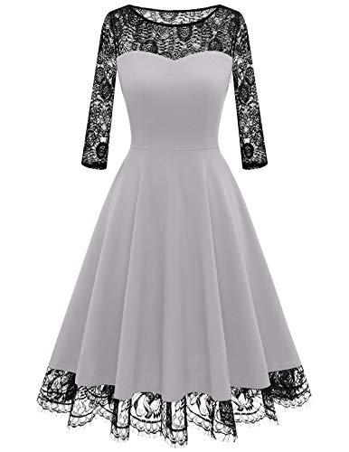 HomRain 1950er Elegant Spitzenkleid Rundhals festlich Brautjungfern Damen Cocktailkleider Abendkleid für Hochzeit Partykleid Silver Gray-1 S