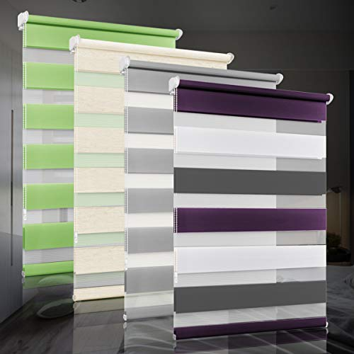 bobodeco Doppelrollo klemmfix ohne Bohren Duo Rollos für Fenster mit Klemmträger, Fensterrollo lichtdurchlässig & verdunkelnd Wandmontage Sichtschutz- Weiß Lila Anthrazit,90x130cm (BxH)