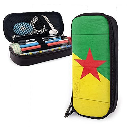 Estuche para lápices de cuero de madera con bandera nacional de la Guayana francesa, estuche para lápices con cremallera duradero de gran capacidad estuche para lápices, estuche para cosméticos