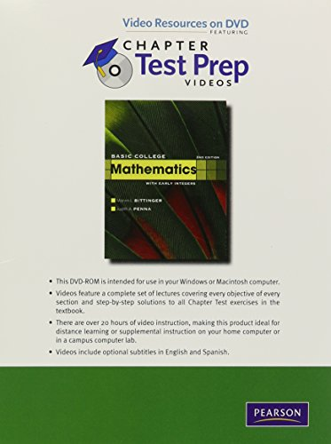 Download Video Resources on DVD with Chapter Test Prep Videos for Basic College Mathematics with Early Integers 0321613554