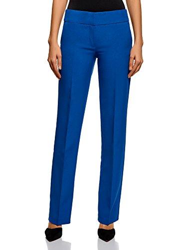 oodji Ultra Mujer Pantalones Clásicos con Pinzas, Azul, ES 38 / S