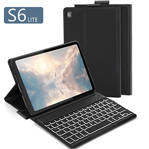 Bluetooth Backlit Keyboard Case for Samsung Galaxy Tab S6 Lite 10.4', Jelly Comb Removable Wireless Keyboard QWERTY UK Layout with Case for Samsung Galaxy Tab S6 Lite 10.4' SM-P610/P615, Black