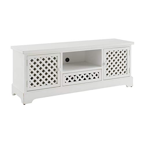 Powell Distressed White TV Layton Cabinet