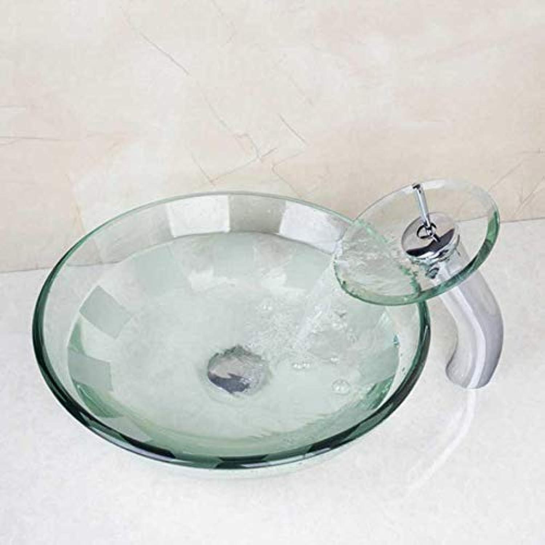 LLLYZZ Neue Ankunft Victory Glasschale, Waschbecken, Waschbecken Mit Wasserfall Wasserhahn Gehrtetem Glas Waschbecken Set